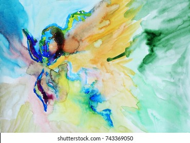 Watercolor flower abstract background, Abstract art