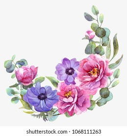 Watercolor flower wreath card. Handdrawn.Wedding, Mother's Day, birthday, Easter.