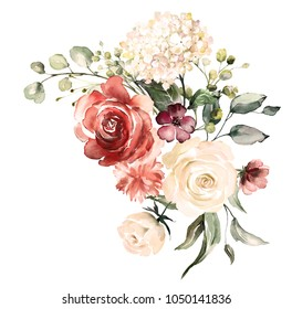 watercolor flowers. floral illustration, Leaf and buds. Botanic composition for wedding or greeting card.  branch of flowers - abstraction roses, hydrangea