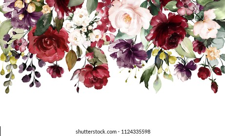 watercolor flowers. floral illustration, Leaf and buds. Botanic composition for wedding or greeting card. Border, branch of flowers - abstraction roses