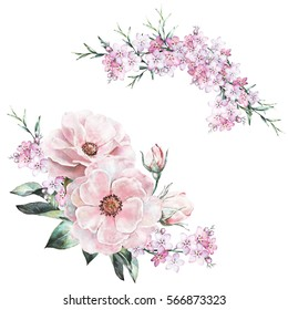 watercolor flowers. floral illustration in Pastel colors  rose. bunch of pink, flowers isolated on white background. herbs, Leaf. Cute composition for wedding or greeting card. set romantic bouquet