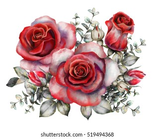 watercolor flowers. romantic floral illustration, red rose. branch of flowers isolated on white background. Leaf and buds. Bouquet, composition for wedding or greeting card