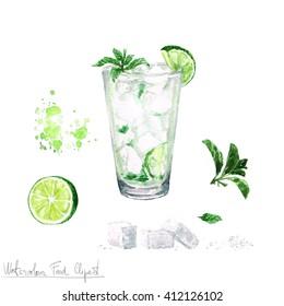 Watercolor Food Clipart - Mojito