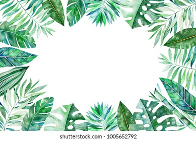 Watercolor frame border.Texture with greens,branch,leaves,tropical leaves,foliage,bamboo.Perfect for wedding,invitations,greeting cards,quotes,pattern,logos,Birthday cards,lettering etc