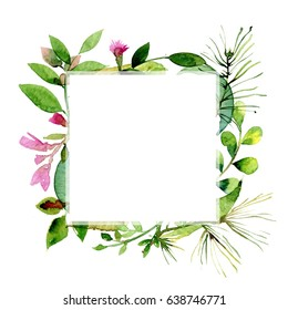 Watercolor frame of colorful flowers and leaves. Concept of the herbs for the design of invitations, greeting cards, textile and wallpapers. Vintage artistic frames. Watercolor background.