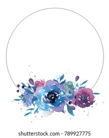 Watercolor frame with flowers, leaves and branches. Hand drawn illustration.