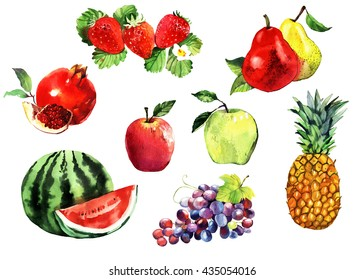 watercolor fruits set, apples, grapes, pineapple, pear, pomegranate, watermelon, strawberry, hand painted illustration isolated on white background