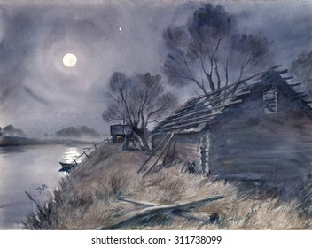 Watercolor: Full Moon