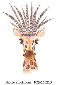 Watercolor giraffe in african style