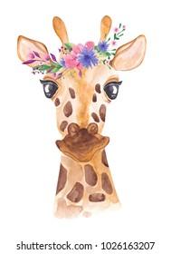 Watercolor giraffe in floral wreath