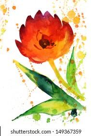 Watercolor Golden Tulip
