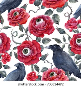 Watercolor Gothic Halloween pattern, red roses with eyeballs and black raven, thorns and leaves