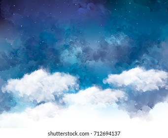 watercolor graphic illustration of white clouds blue sky night view. Idea of peaceful, tranquil, nature concept wallpaper template