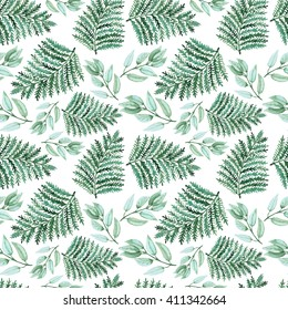 Watercolor Green Fern Seamless Pattern