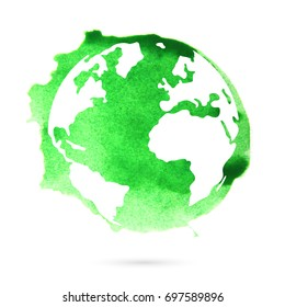 Watercolor green planet earth on a white background. Beautiful abstract spot.