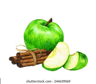 Watercolor green sliced apples with cinnamon sticks with bows.