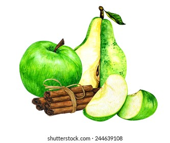 Watercolor green sliced apples, green sliced pear with cinnamon sticks with bows.