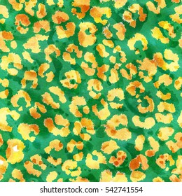 Watercolor green yellow leopard seamless pattern. Allover print with leopard skin pattern. Wild cat skin background. Hand drawn leopard skin repeating pattern.