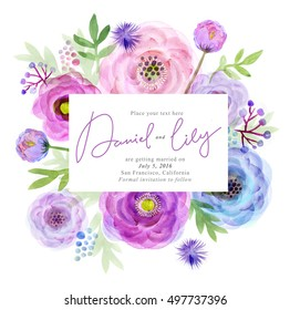 Watercolor greeting card flowers. Handmade. Congratulations background. Flowers card