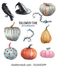 halloween watercolor hand drawn artistic
