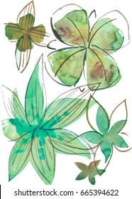 Watercolor hand draw illustration with decorative flowers