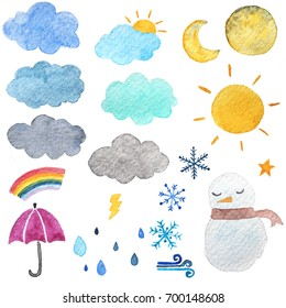 watercolor hand drawing of weather set / Weather symbol such as cloud sun moon star snow rain drops wind rainbow by watercolor painting technique