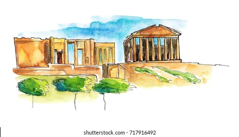 Watercolor Hand drawn architecture sketch illustration of Parthenon, Greece isolated on white