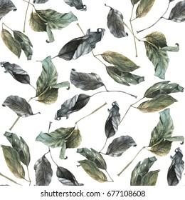 Watercolor hand drawn autumn seamless pattern with dry leaves.