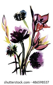 Watercolor hand drawn bouquet of flowers in bright colors and black ink outline. Graphic illustration.