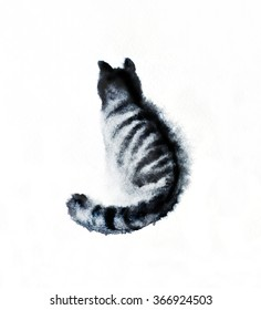 Watercolor hand drawn cat