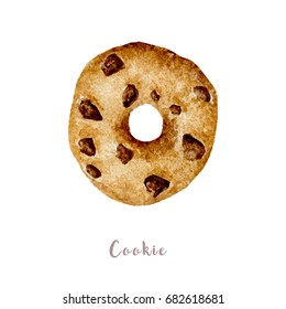 Watercolor hand drawn chocolate hip cookie. Isolated illustration on white background
