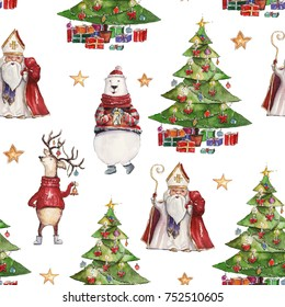 Watercolor hand drawn Christmas seamless pattern with Saint Nicholas, holiday deer, colorful bear and Christmas tree with presents on white background