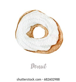 Watercolor hand drawn donut. Isolated fresh bakery illustration on white background