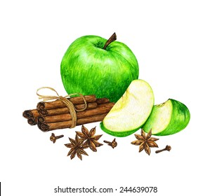Watercolor hand drawn green sliced apples with cinnamon sticks, cloves and star anise.