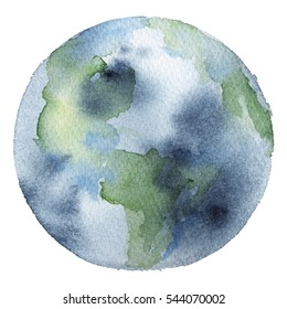 Watercolor hand drawn illustration of Earth planet.