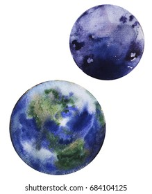 Watercolor hand drawn illustration of Earth planet and her satellite Moon.