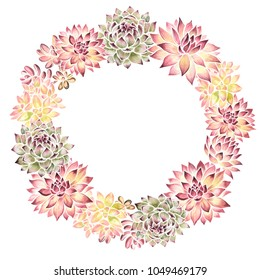 Watercolor hand drawn illustration of succulent wreath isolated on a white background.