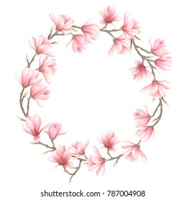 Watercolor hand drawn illustration of wreath with magnolia flower
