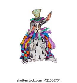 Watercolor hand drawn  isolated rabbit in hat and  cape