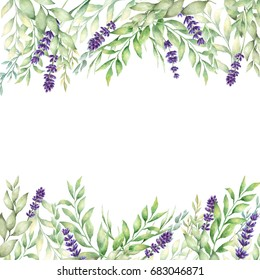 Watercolor hand drawn lavender and green leaves card template. Template for save the date, birthday cards, wedding invitations