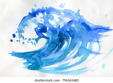 Watercolor hand drawn ocean wave. watercolor illustration. Water splash isolated on white.
