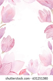 Watercolor hand drawn painting of magnolia frame isolated