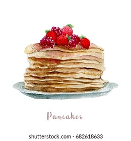 Watercolor hand drawn pancakes. Isolated dessert illustration on white background