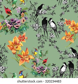 Watercolor hand drawn seamless pattern on green background with tropical summer flowers and exotic birds