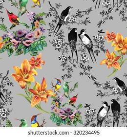 Watercolor hand drawn seamless pattern on gray background with tropical summer flowers and exotic birds