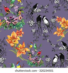 Watercolor hand drawn seamless pattern on purple background with tropical summer flowers and exotic birds