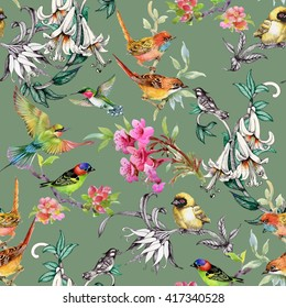 Watercolor hand drawn seamless pattern with tropical summer flowers and exotic birds on green background