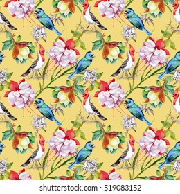 Watercolor hand drawn seamless pattern with beautiful flowers and colorful birds on yellow background