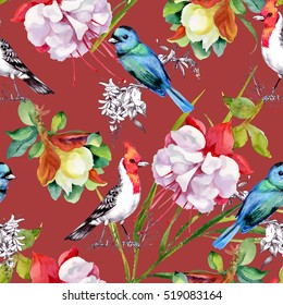 Watercolor hand drawn seamless pattern with beautiful flowers and colorful birds on red background