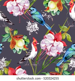Watercolor hand drawn seamless pattern with beautiful flowers and colorful birds on purple background